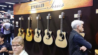 The obligatory wall of Martins... not much in the way of acoustic stuff this year that was new. Nice guitars, but more of the same.