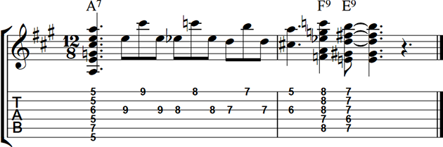 A7 Turnaround with blues half step